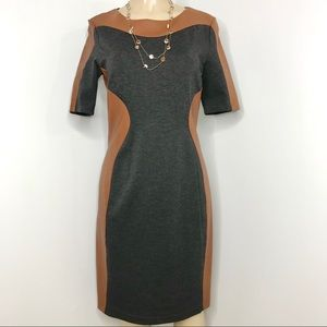NUE by SHANI Knit Dress with Brown Leather Trim 8
